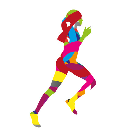 Abstract colorful running woman Illustration