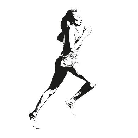 Correr boceto mujer. Ilustración vectorial Ilustración de vector