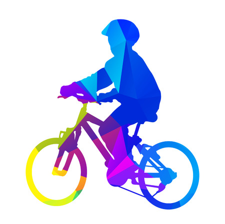 riding helmet: Vector kid on bicycle. Vector silhouette