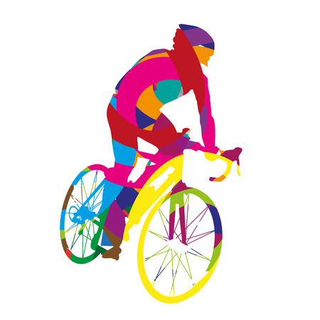 bicycles: Abstract colorful cyclist Illustration