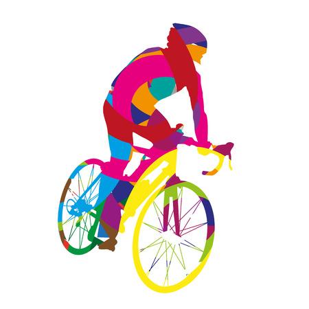 Abstracte kleurrijke fietser Stock Illustratie