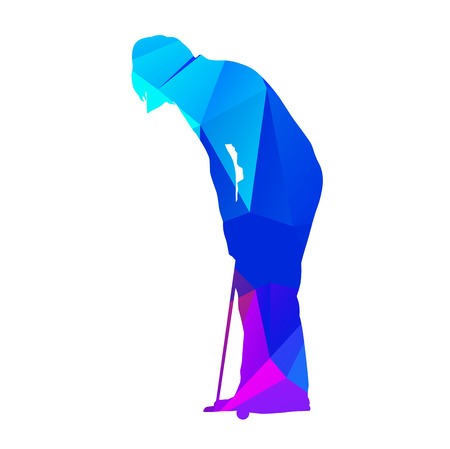 putting: Abstract geometrical putting woman