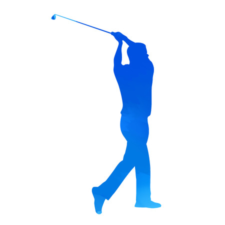 golf swing: Bright blue vector golfer