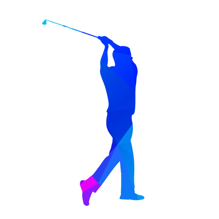 golf player: Abstract blue golf player. Vector silhouette
