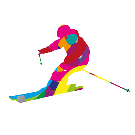 downhill: Abstract colorful downhill skier Illustration
