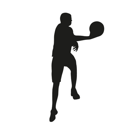 dunking: Basketball player silhouette