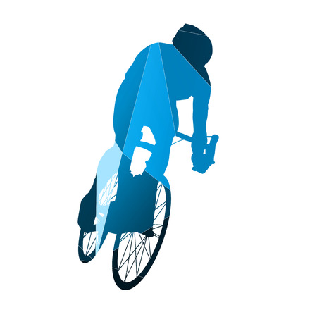 one wheel bike: Abstract blue vector cyclist