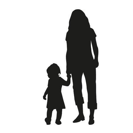 niños caminando: Madre con su hija a dar un paseo Vectores