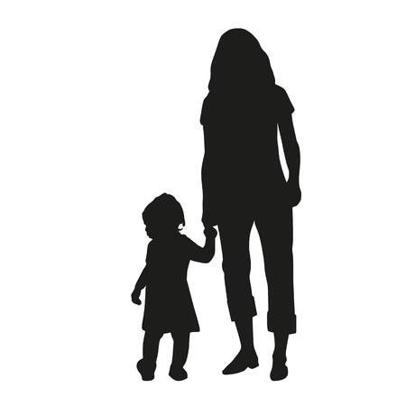 love silhouette: Mother with her daughter for a walk