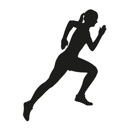 healty lifestyle: Running girl isolated vector silhouette