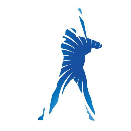 hitter: Abstract blue baseball batter figure Illustration
