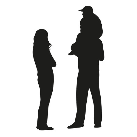 couple hiking: Family, isolated vector silhouette. Father, mother, kid Illustration