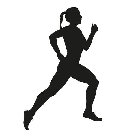 running woman: Vector running woman silhouette