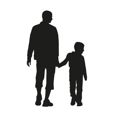 niños caminando: Padre e hijo. Vector silueta