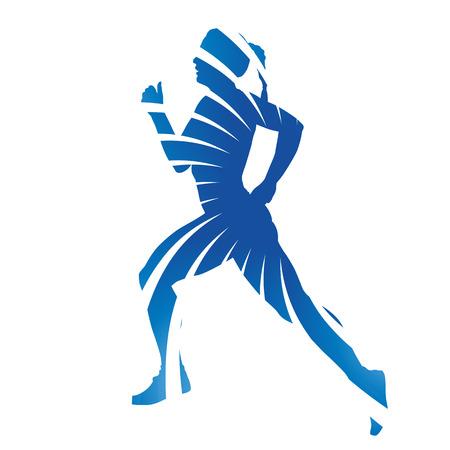 running woman: Abstract blue vector running woman
