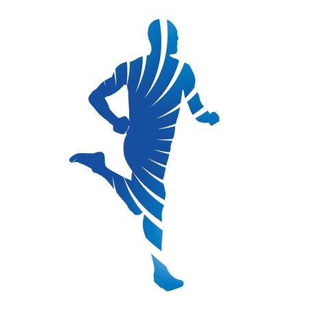 ejercicio aer�bico: Corredor azul abstracto