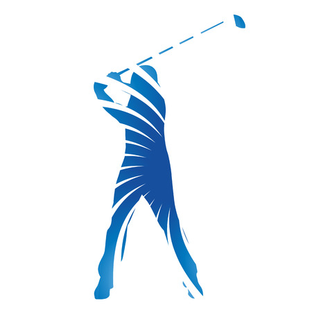 Abstract blue vector golfer Ilustracja