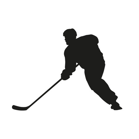 Hockey player. Vector silhouette Vector