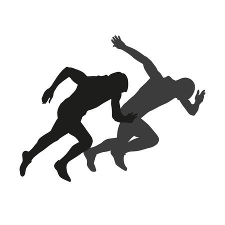 coureur: Couple de coureurs à partir. Vector silhouettes