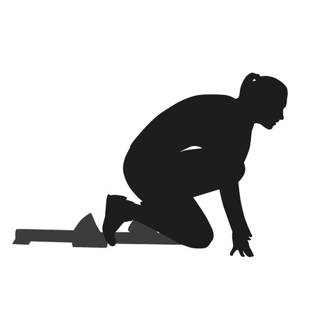 Starting woman vector silhouette Illustration