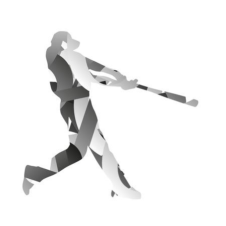 hitter: Abstract monochromatic baseball player