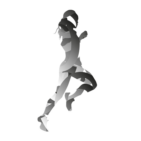 monochromatic: Abstract monochromatic vector running woman