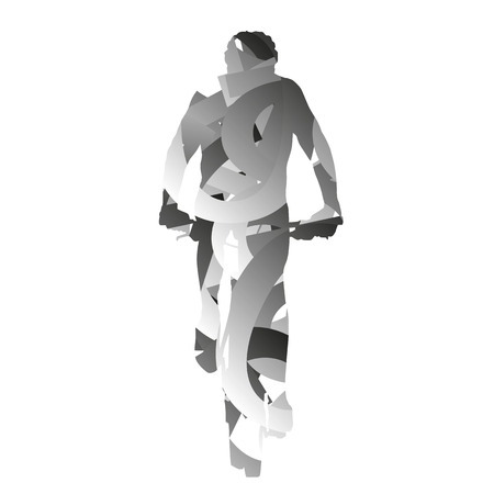 monochromatic: Abstract monochromatic vector mountain bycycle rider