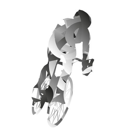 Abstract monochromatic road biker