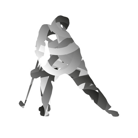 ice hockey player: Abstract vector monochromatic ice hockey player