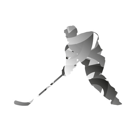 monochromatic: Abstract vector monochromatic ice hockey player