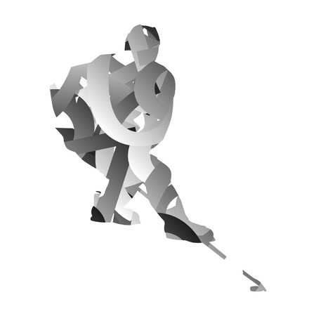 ice hockey player: Abstract monochromatic ice hockey player Illustration