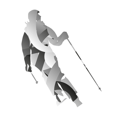 alpine: Abstract woman downhill skier