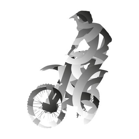 monochromatic: Abstract monochromatic vector motocross rider Illustration