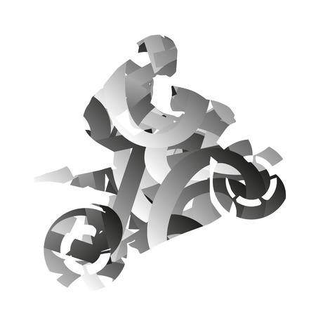 moto: Abstract monochromatic vector moto rider