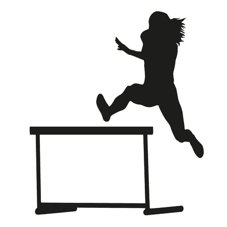 steeplechase: Woman jumps over the hurdle. Steeplechase. Running woman