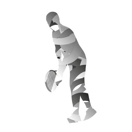 monochromatic: Abstract monochromatic tennis player