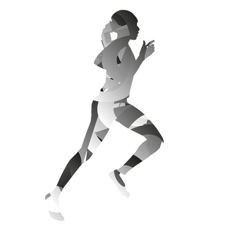 monochromatic: Abstract monochromatic running girl Illustration