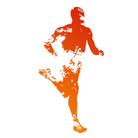 running: Abstract grungy runner silhouette