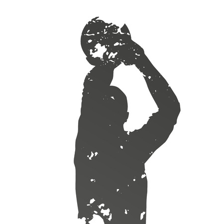 Abstract grungy shooting basketball player Vector