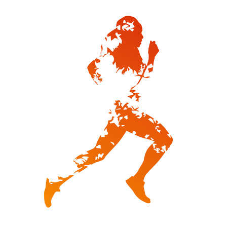 Abstract orange grungy running woman Vector