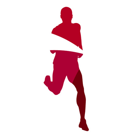compression: Abstract red male runner geometric silhouette