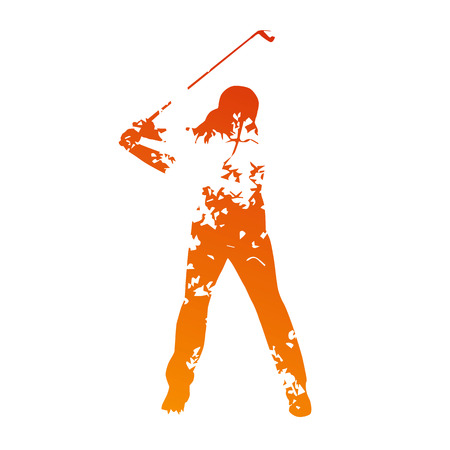 Abstract grunge golf player Vector
