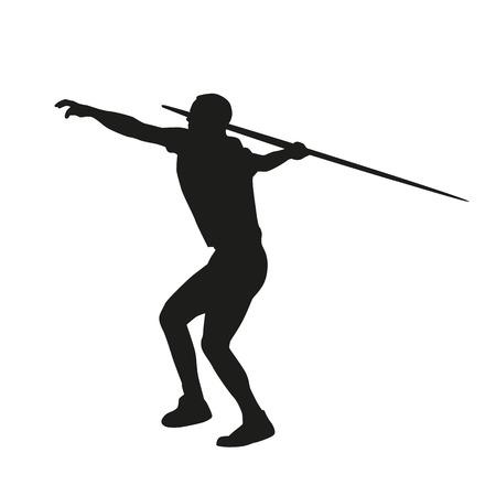 throwing: Javelin throwing. Vector silhouette
