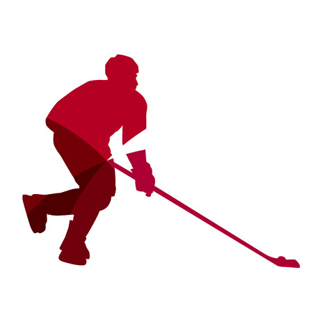 ice hockey player: Abstract red ice hockey player geometric silhouette