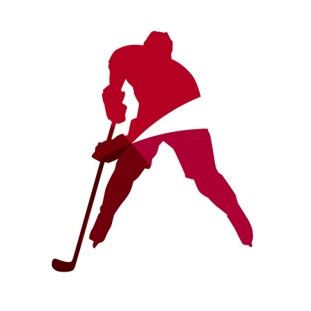 hockey: Abstract red ice hockey player geometric silhouette