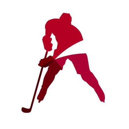 casco rojo: Jugador de hockey sobre hielo rojo abstracto silueta geométrica