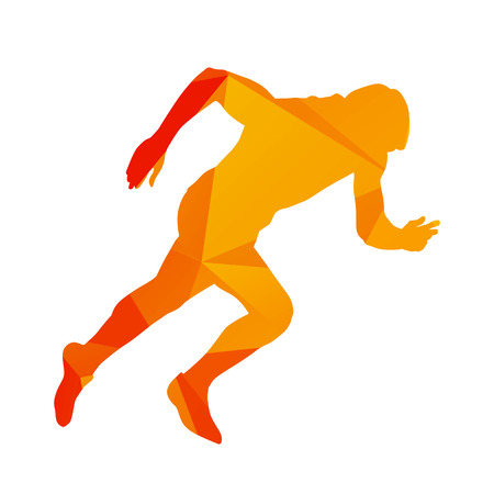 athlete: Abstract geometrical orange sprinter