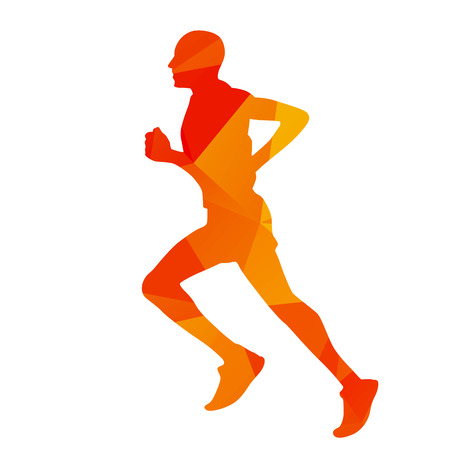 hombre deportista: Hombre de color naranja en funcionamiento geométrico abstracto
