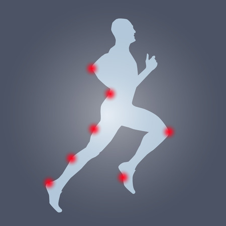 joint: Runner silhouette anatomy. Pain, sport, run, health, hurt,ache Illustration