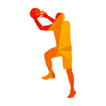 dunking: Abstract orange basketball player